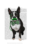 Boston Terrier With Green Moustache And Spotty Green Bow Tie Print by  Fab Funky
