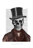 Skeleton Gentleman and Top hat Poster by  Fab Funky