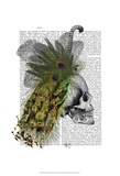 Skull With Feather Headress Prints by  Fab Funky