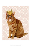 Ginger Cat with Crown Full Prints by  Fab Funky