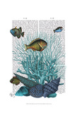 Fish Blue Shells and Corals Print by  Fab Funky