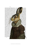 Madam Hare Portrait Print by  Fab Funky