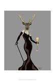 Glamour Deer in Black Prints by  Fab Funky