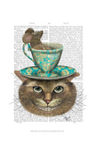 Cheshire Cat with Cup on Head Art by  Fab Funky