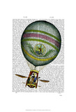 Light Blue Hot Air Balloon Posters by  Fab Funky