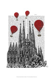 Sagrada Familia and Red Hot Air Balloons Prints by  Fab Funky