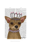 Chihuahua And Tiara Poster by  Fab Funky
