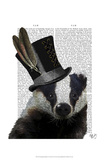 Steampunk Badger in Top Hat Print by  Fab Funky