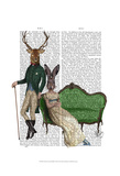 Mr Deer and Mrs Rabbit Print by  Fab Funky