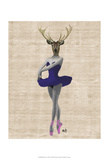 Ballet Deer in Blue Poster by  Fab Funky
