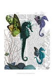 Seahorse Trio With Wings Posters by  Fab Funky