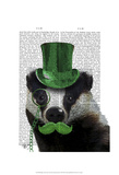 Badger with Green Top Hat and Moustache Posters by  Fab Funky