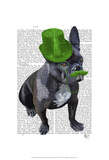 French Bulldog With Green Top Hat and Moustache Print by  Fab Funky