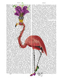 Mardi Gras Flamingo Full Poster by  Fab Funky