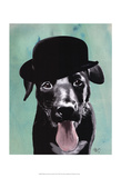 Black Labrador in Bowler Hat Print by  Fab Funky