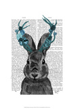 Jackalope with Turquoise Antlers Prints by  Fab Funky