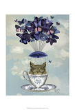 Owl In Teacup Prints by  Fab Funky
