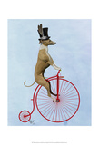 Greyhound on Red Penny Farthing Print by  Fab Funky