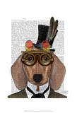 Dachshund with Top Hat and Goggles Prints by  Fab Funky