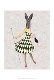 Rabbit in Black White Dress Print by  Fab Funky
