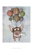 Pig And Balloons Posters by  Fab Funky