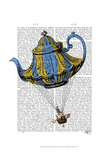 Flying Teapot 3 Blue and Yellow Prints by  Fab Funky