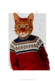 Cat in Ski Sweater Art by  Fab Funky