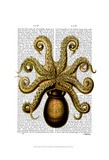 Vintage Yellow Octopus Underside Poster by  Fab Funky
