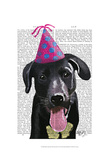 Black Labrador With Party Hat Poster by  Fab Funky