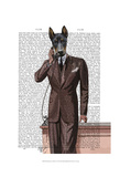 Doberman on Phone Prints by  Fab Funky