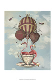 Flamingos in Teacup Print by  Fab Funky