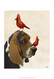 Basset Hound and Birds Posters by  Fab Funky