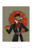 Elegant Greyhound and Red Umbrella Art by  Fab Funky