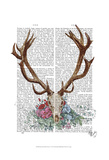 Deer Skull With Flowers 1 Prints by  Fab Funky