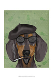 Hipster Dachshund Poster by  Fab Funky