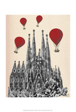 Sagrada Familia and Red Hot Air Balloons Art by  Fab Funky