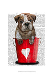 Bulldog Bucket Of Love Red Art by  Fab Funky
