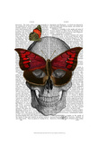 Pink Butterfly Mask Skull Poster by  Fab Funky