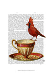 Teacup And Red Cardinal Print by  Fab Funky