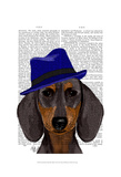 Dachshund With Blue Trilby Art by  Fab Funky