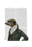 Dandy Meerkat Portrait Prints by  Fab Funky
