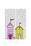 Beach Huts 3 Illustration Art by  Fab Funky