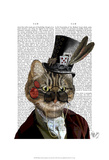 Phileas Feline Steampunk Cat & Top Hat Prints by  Fab Funky