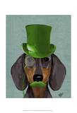 Dachshund with Green Top Hat Black Tan Prints by  Fab Funky