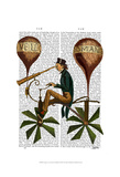 Voyage A La Lune Hot Air Balloon Poster by  Fab Funky