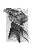 Rabbit Portrait Profile Art by  Fab Funky