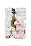Greyhound on Red Penny Farthing Bike Posters by  Fab Funky