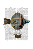Hot Air Balloon With Tail Feather Art by  Fab Funky