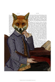 Fox With Flute Print by  Fab Funky