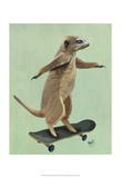 Meerkat On Skateboard Poster af  Fab Funky